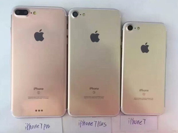 Had Apple had problems with the production of the dual lens camera, this would have been the 2016 lineup with a (left to right) limited edition iPhone 7 Pro, the iPhone 7 Plus and the iPhone 7 - New report says Apple iPhone 7 Pro is out, iPhone 7 Plus is in sporting a dual lens camera on back