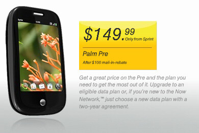 Sprint has lowered the Palm Pre's price by $50 - Sprint gives the Palm Pre a price cut