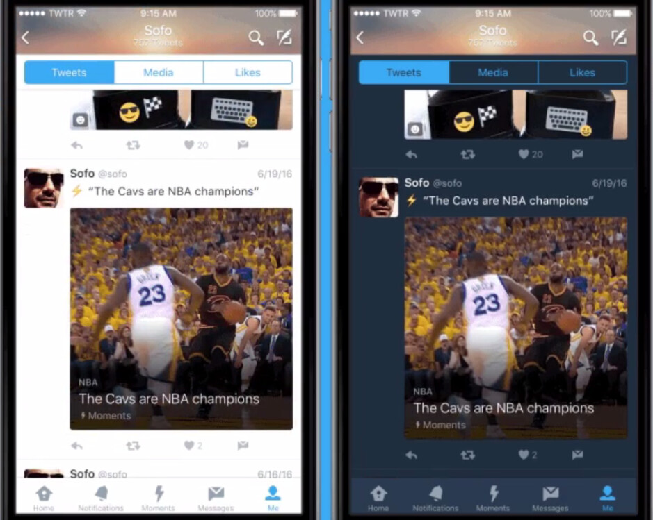 Night mode at right, allows users to tweet in the dark - Twitter adds 'night mode' to its iOS app