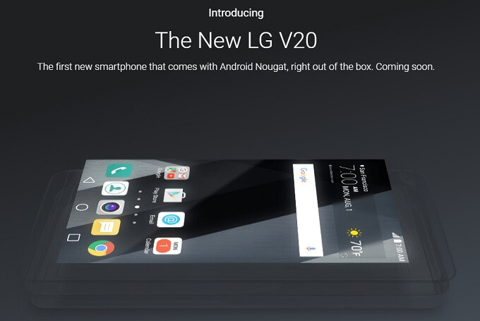 Google formally intros the LG V20 as the first phone to run Android 7.0 Nougat out of the box