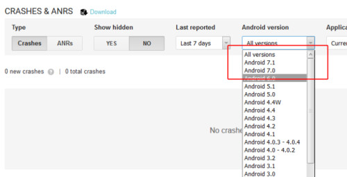 A screenshot from Google's developer console showing Android 7.1 listed in the versions filter