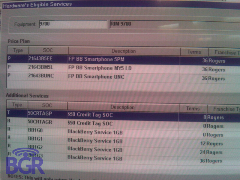 Rogers upgrade system includes BlackBerry Bold 9700 and Curve 8520