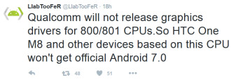 Qualcomm's decision not to update the graphic drivers on the Snapdragon 800 and 801 is one of the reason why certain phones won't be getting updated to Android 7.0
