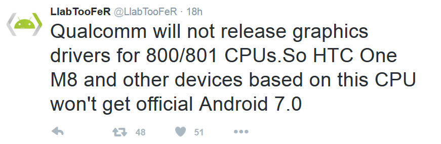 Qualcomm's decision not to update the graphic drivers on the Snapdragon 800 and 801 is one of the reason why certain phones won't be getting updated to Android 7.0 - No Nougat for your Android phone? You might want to blame Qualcomm