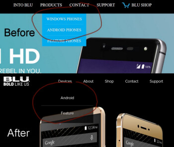 BLU's new website design on bottom, reveals that the company is giving up on Windows Phone