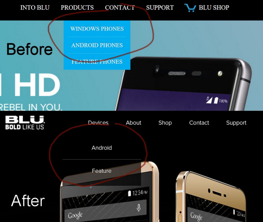 BLU's new website design on bottom, reveals that the company is giving up on Windows Phone - Microsoft feeling BLU? South Florida manufacturer pulls Windows Phone from its website