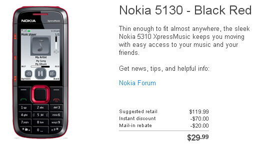 The Nokia 5130 XpressMusic can be bought for $29.99 - The Nokia 5130 XpressMusic is now available through T-Mobile