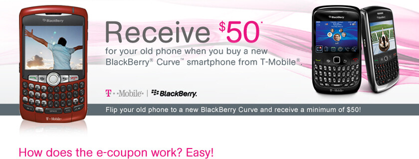 Get $50 back from T-Mobile when you buy a BlackBerry and give them your old one
