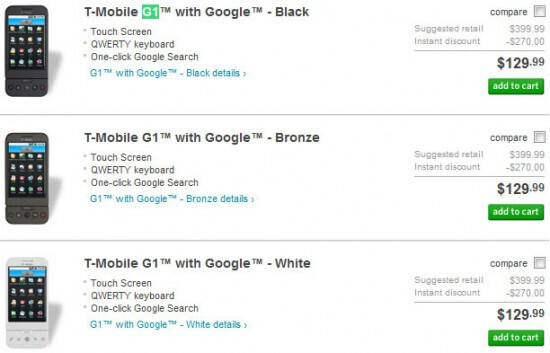 T-Mobile G1 getting its price dropped down to $129.99