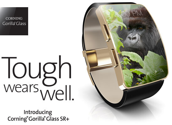 Corning Gorilla Glass SR+ is a tough, scratch-resistant material for smartwatches and wearables