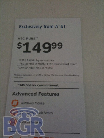 The AT&T Pure will cost $149.99 after MIR