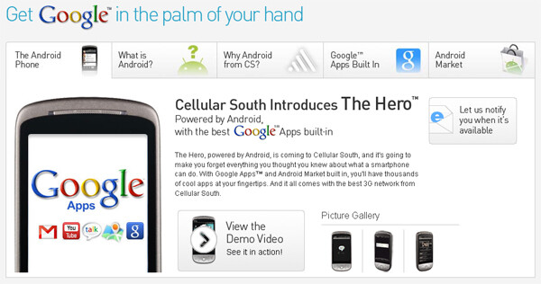 Sprint isn't the only one getting the Hero - it's heading to Cellular South