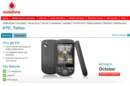 Donut & FM Radio to come loaded with Vodafone's launch of the HTC Tattoo