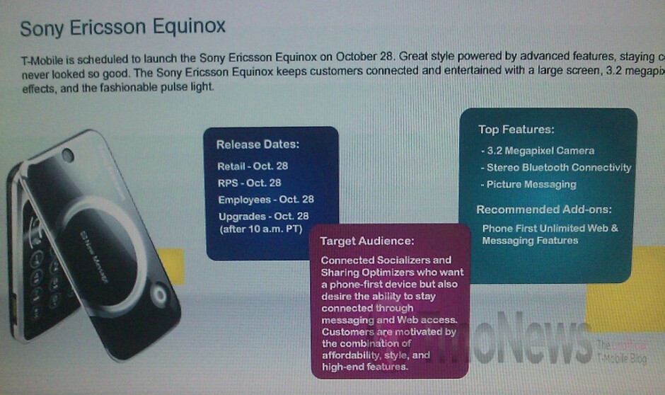 Middle of the road Sony Ericsson Equinox to debut October 28 for T-Mobile