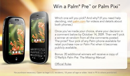 Palm doing another Facebook giveaway - this time it's your choice of a Pre or Pixi