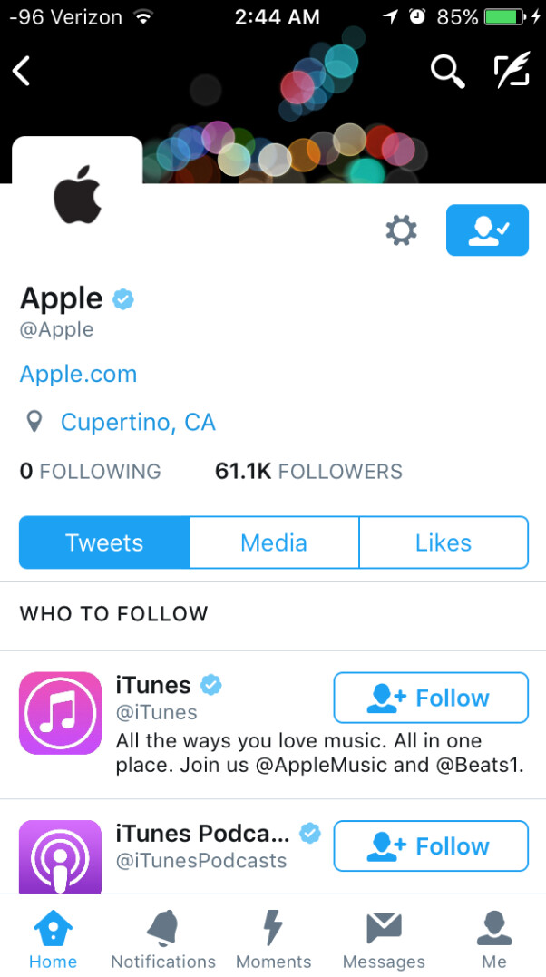 Apple finally activates its Twitter account - After five years, Apple finally activates its Twitter account