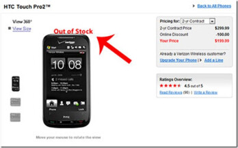 Verizon runs out of Touch Pro2 inventory?