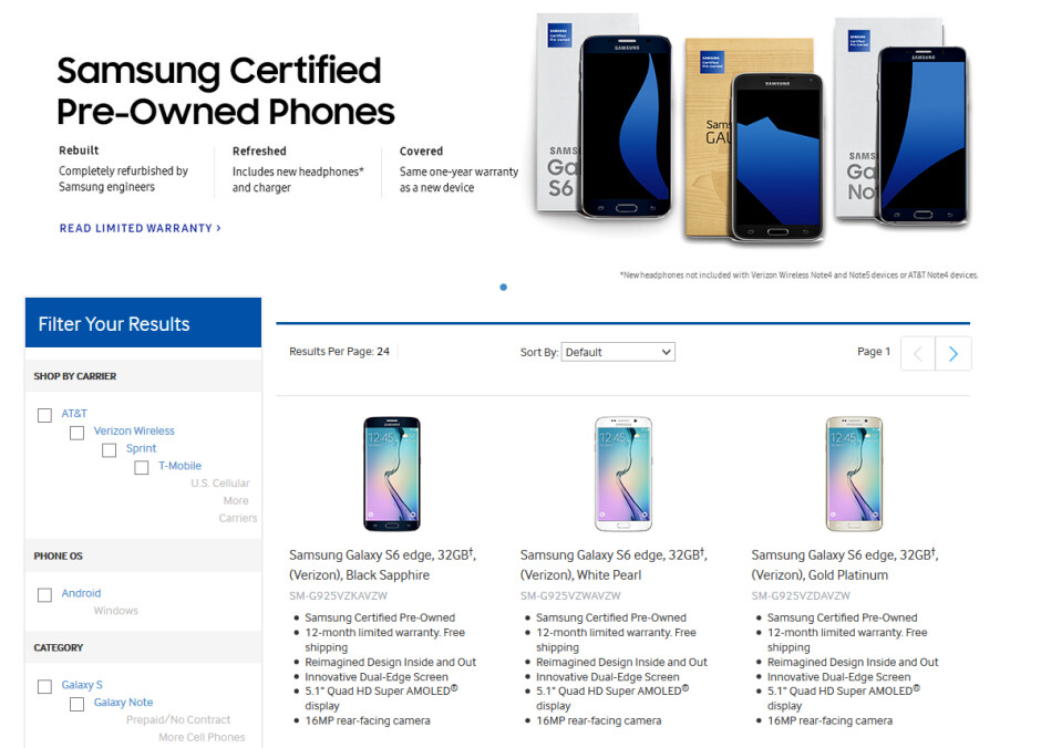 Carrier-branded refurbished flagship phones from Samsung are now available in the U.S. - Samsung to sell refurbished flagship carrier-locked phones in the U.S.