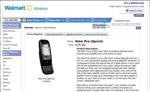 Walmart chops Palm Pre down to $79.99
