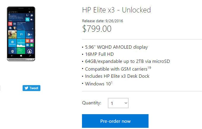 HP Elite x3 pre-orders delayed in the US by two weeks