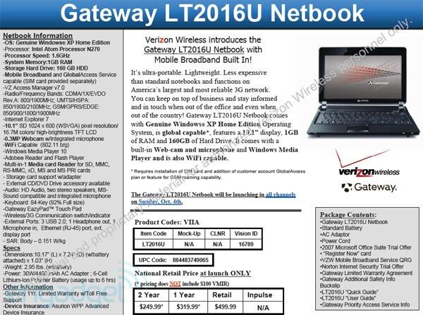 Verizon to get the Gateway LT2016U Netbook on October 4th