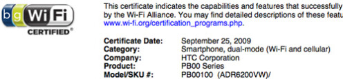 Wi-Fi certification and FCC approval for Verizon-bound HTC Desire