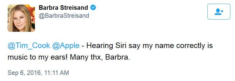 "Siri can now pronounce Barbra Streisand's name correctly - ""Funny Girl"" Barbara Streisand confirms Siri update"
