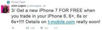 T-Mobile CEO John Legere reveals information about T-Mobile's trade-in deal for the 32GB Apple iPhone 7