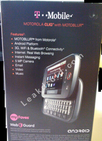 Box for Motorola CLIQ shows focus on social networking