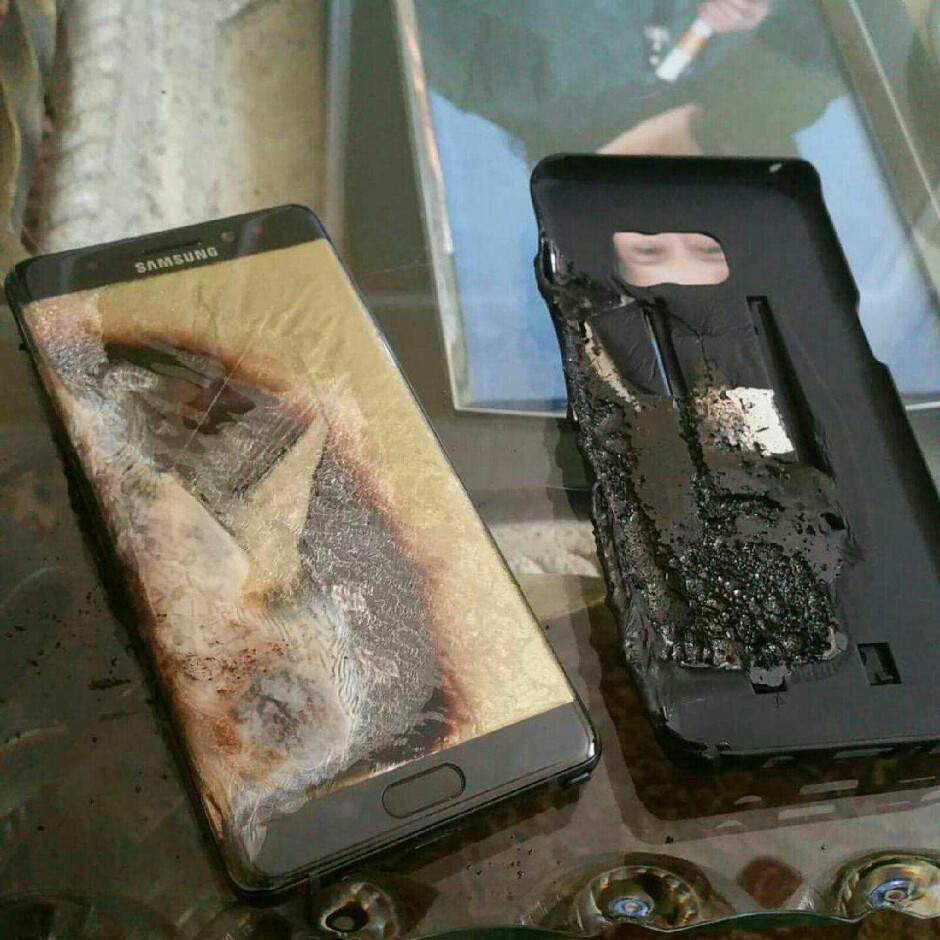 A Samsung Galaxy Note 7 after catching on fire - Samsung to give Galaxy Note 7 owners a Galaxy J model until the new phablets are launched