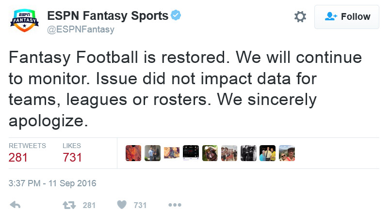 ESPN's Fantasy Sports app is back up and running - ESPN's Fantasy Sports app fails on the first Sunday of the NFL regular season