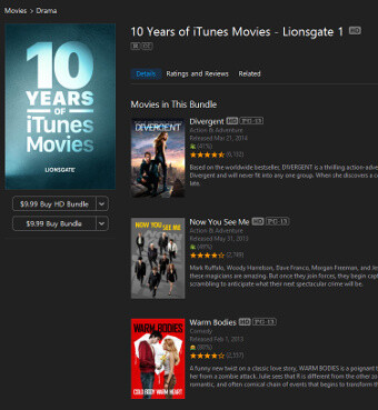 Apple is running a crazy 24-hour sale on movies right now: get a bundle of 10 movies for $10