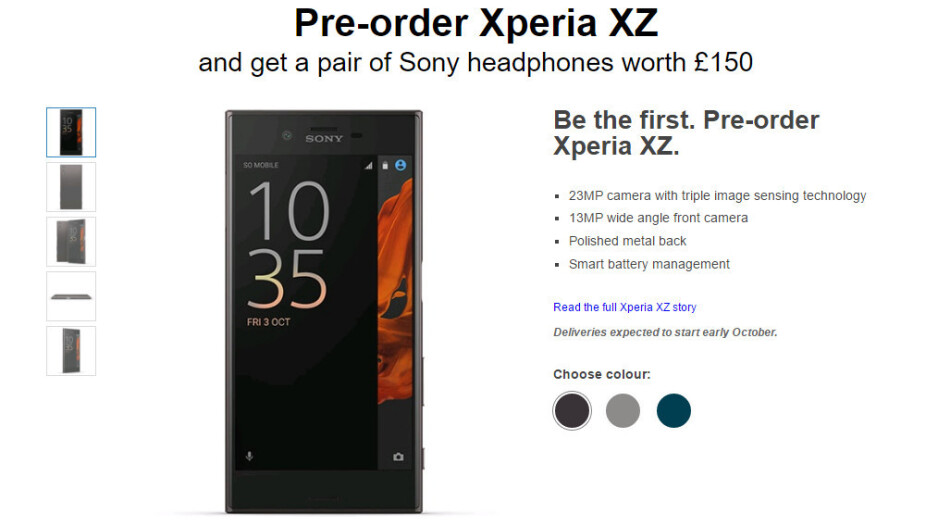 Xperia XZ pre-orders in Europe come with free Sony headphones in tow