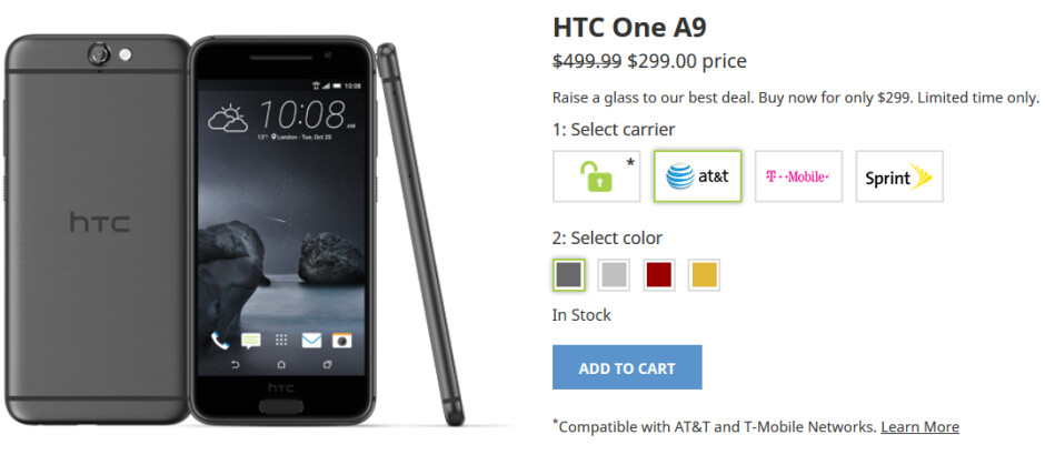From now through this coming Sunday, save 40% on the HTC One A9 - For the rest of this week you can buy the HTC One A9 at its lowest price ever, $299