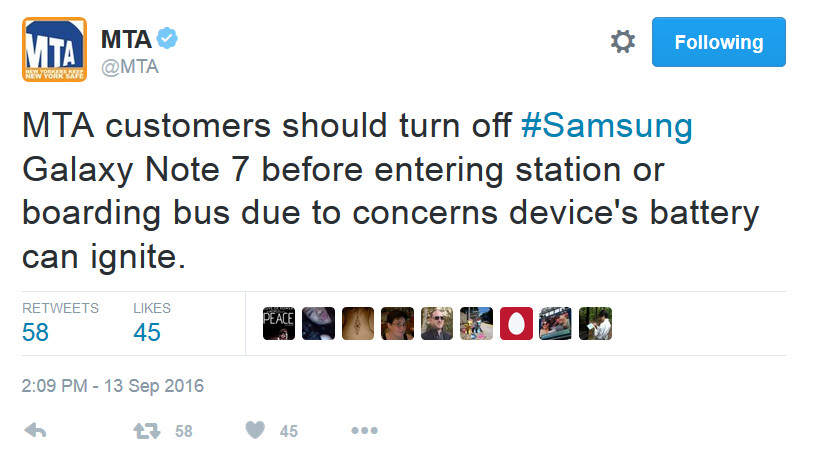 New York City's MTA tells passengers that they must shut down their Galaxy Note 7 before riding on one of their trains or buses - New York, New Jersey authorities request that riders turn off their Galaxy Note 7 on buses, trains