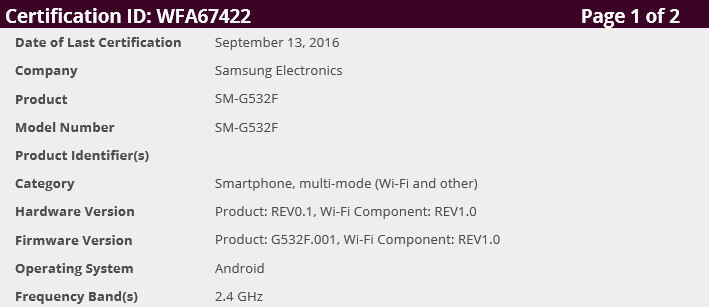 Samsung Galaxy Grand Prime (2016) gets Wi-Fi certification