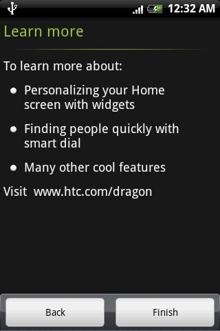 The interface of the HTC Dragon