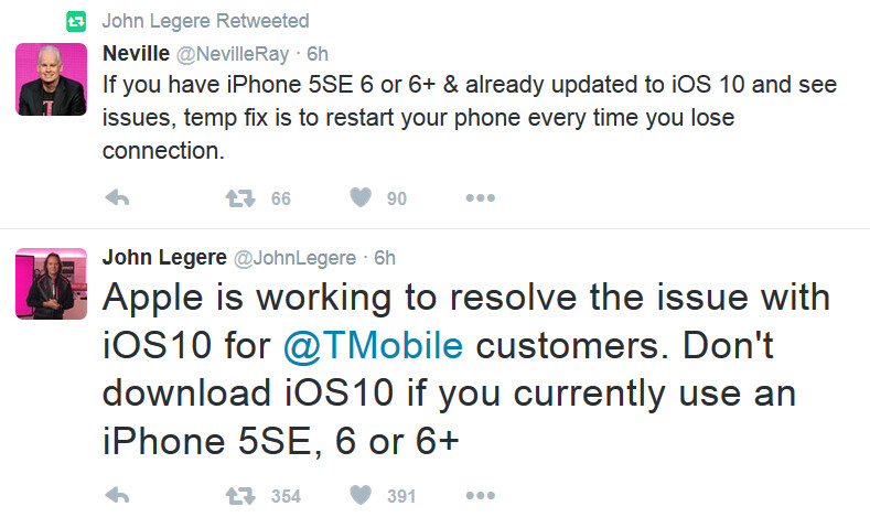 T-Mobile CEO John Legere and CTO Neville Ray warn subscribers not to install iOS 10 - T-Mobile tells subscribers 'don't update to iOS 10'