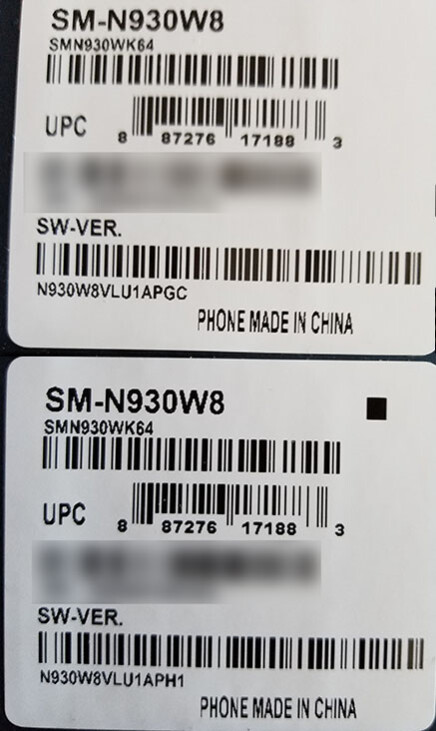 Above - old Note 7 box; Below - new Note 7 box - Adding to the confusion: Canadian users receive replacement Note 7 units without a blue S sticker