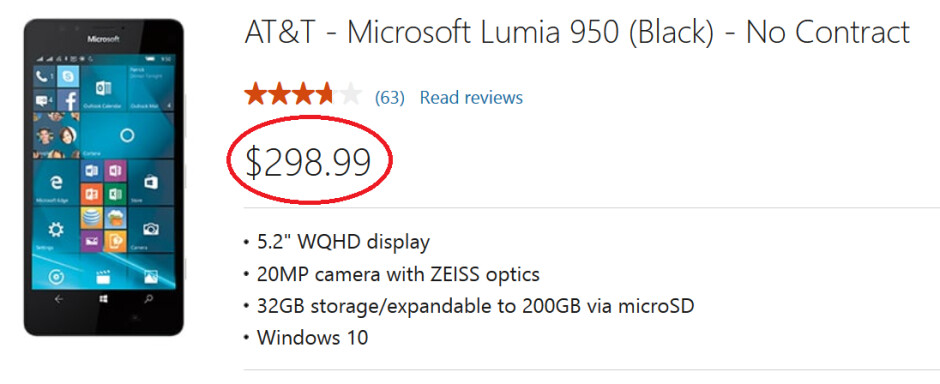 The AT&T branded Lumia 950 is just $298.99 from the Microsoft Store - Score the AT&T branded Lumia 950 from Microsoft for $298.99