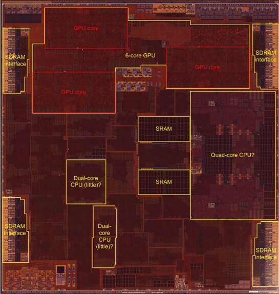 Transistor-level die image of the Apple A10 system chip - iPhone 7 teardown reveals the secrets behind the A10 chip