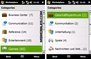 The available apps in USA (left) and in Germany (right)