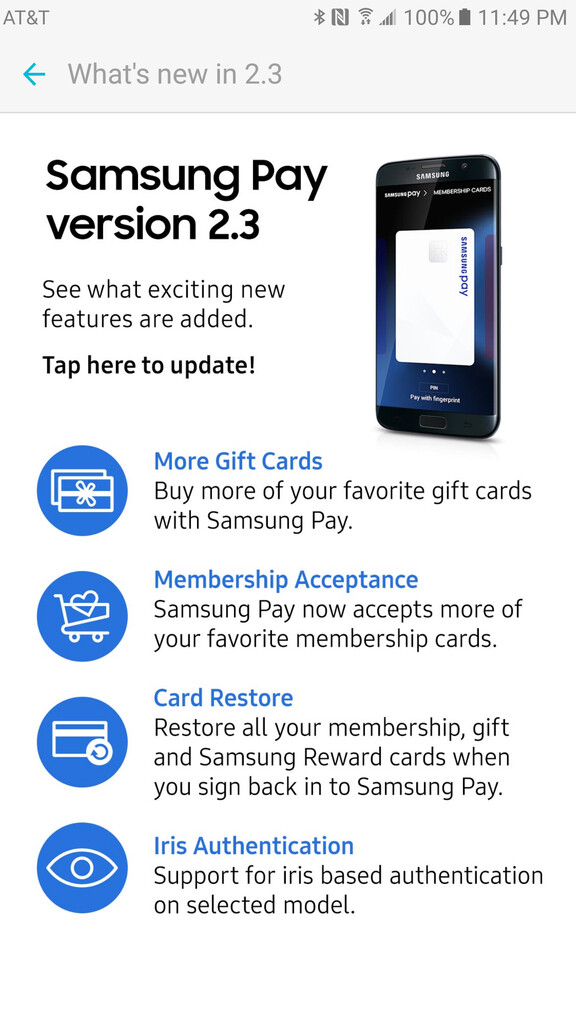 Samsung Pay updated with cloud sync, iris scanner support and more