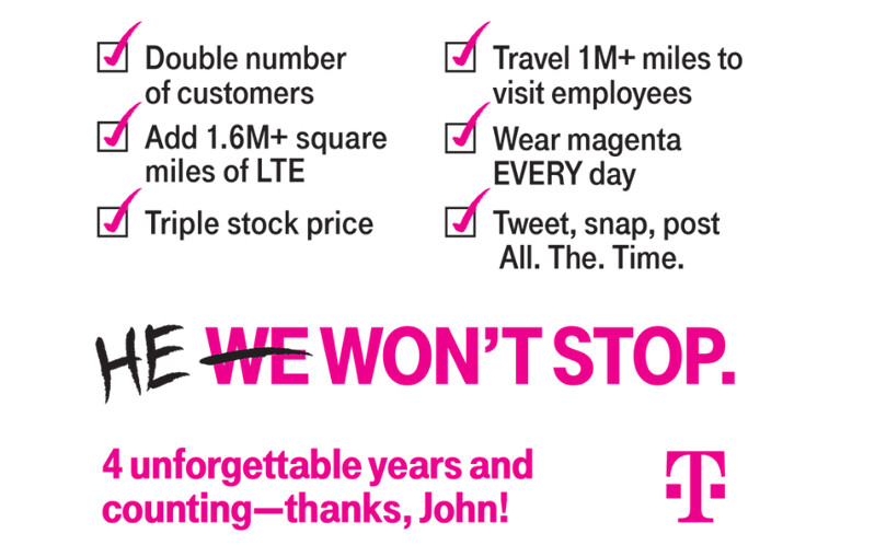 John Legere celebrates four years as the CEO of T-Mobile - John Legere celebrates four years as T-Mobile's CEO, turning the industry inside out