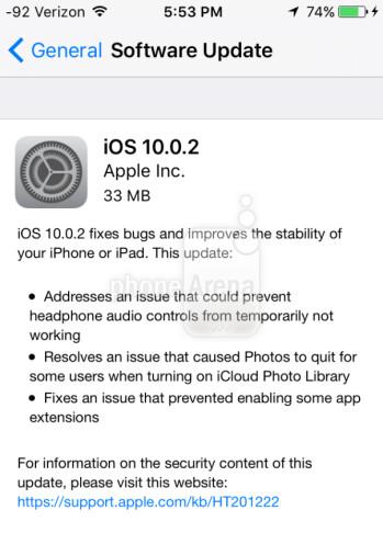 Apple iOS 10.0.2 is released