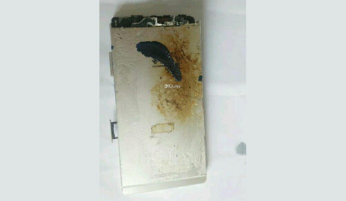 Charred remains of a Huawei (possibly P8) device