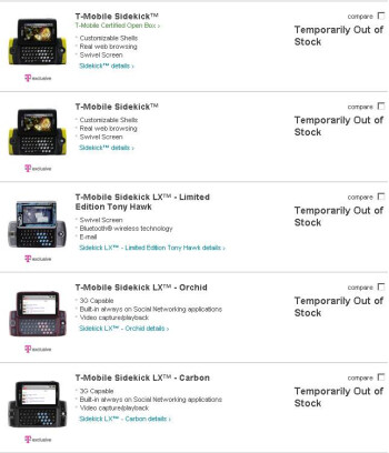 Sidekicks gets yanked off T-Mobile's web site - temporarily out of stock