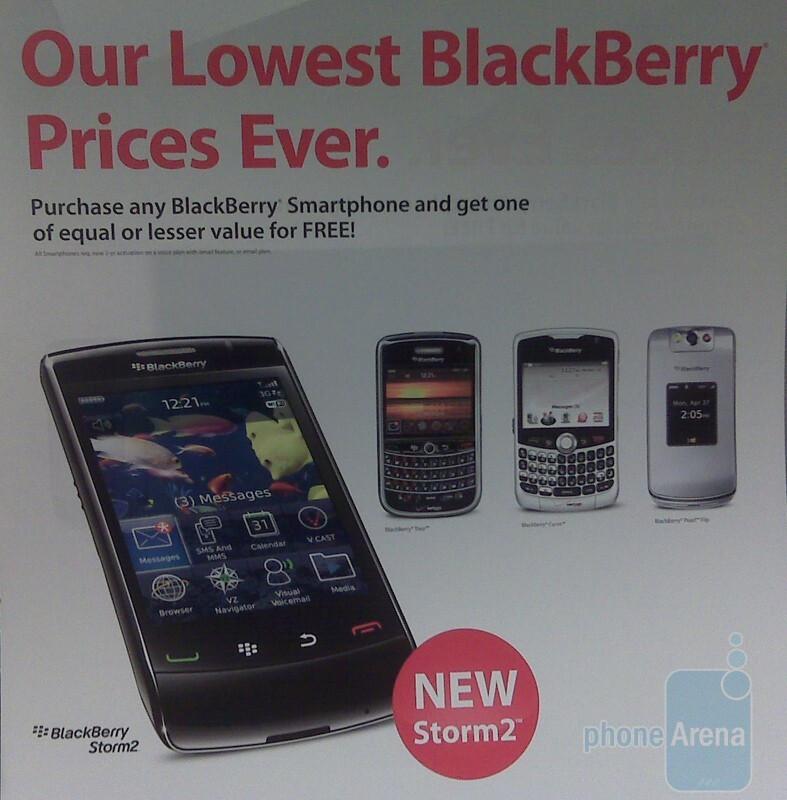 BlackBerry Storm2 in a BOGO flyer - BlackBerry Storm 2 promo materials hit Verizon stores