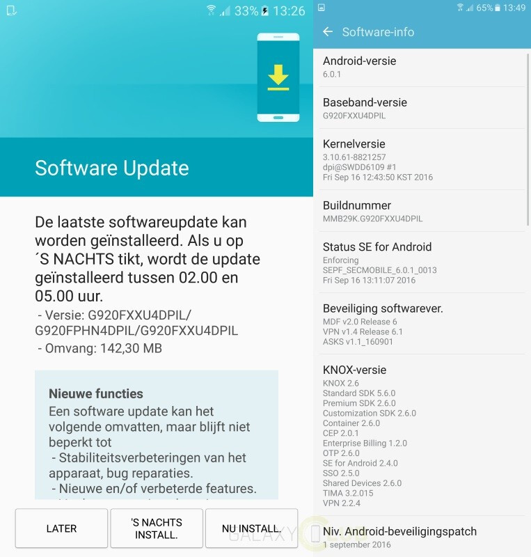 Samsung Galaxy S6 and Galaxy S6 edge receiving September security update in Europe