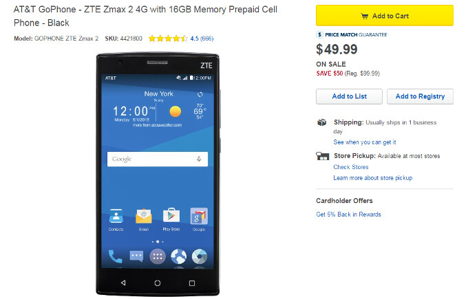 ZTE ZMAX 2 is one of the cheapest phablets your're likely to see from a recognized brand - Deal: ZTE's 5.5-inch ZMAX 2 phablet is just $49.99 at Best Buy